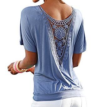 Hibote Mujer Camiseta Oversize Encaje Camisa Mujer Blusa